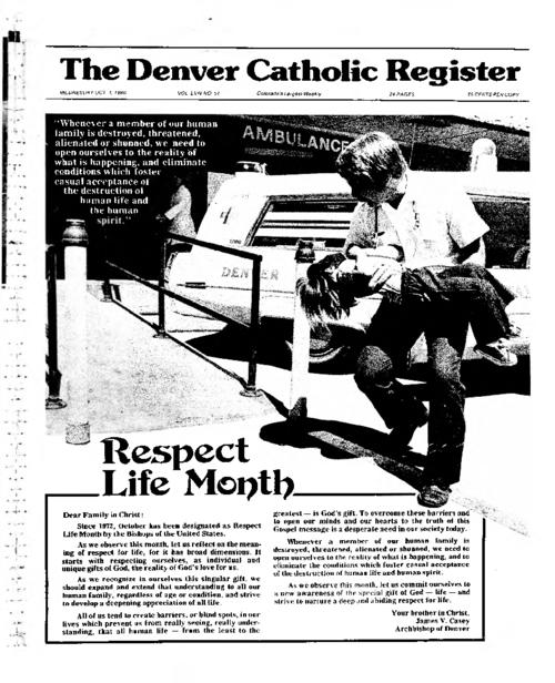 This is the newspaper of the Archdiocese of Denvere