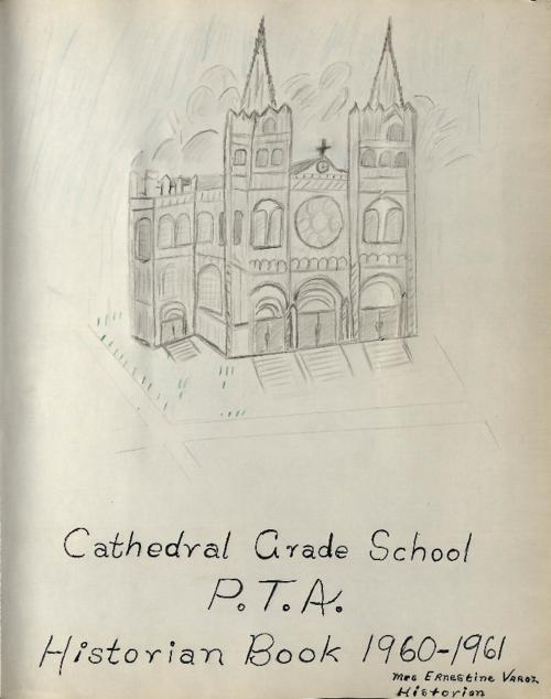Scrapbook put together by the PTA of Cathedral Grade School.  The album contains clippings and ephemera pertaining to Cathedral Grade School.  The album also has black and white snapshots showing students, Monsignor Canavan, the PTA Officers, events and faculty of the school., Scrapbook or affiliated scans not to be reproduced in any manner without the express written permission of the Archdiocese of Denver 1300 S. Steele St. Denver, CO 80210