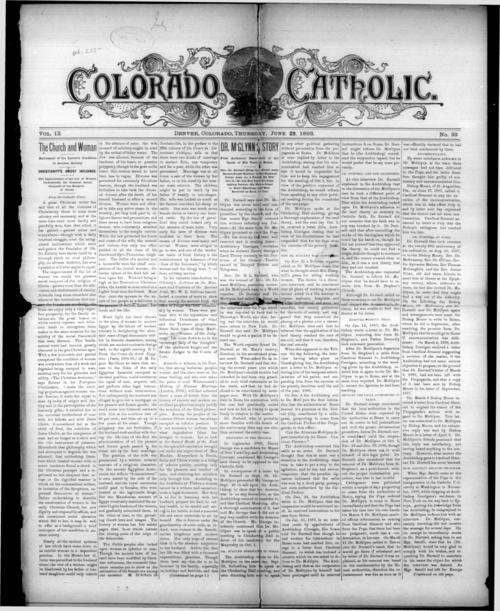 Colorado Catholic was the newspaper of the Diocese of Denver