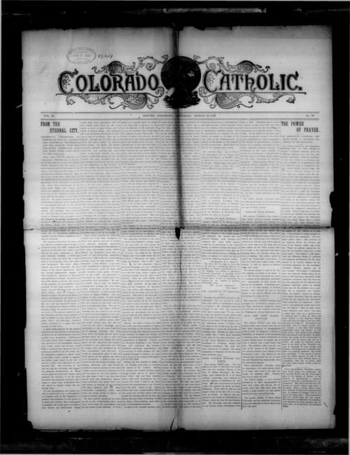 Colorado Catholic was the first newspaper of the Diocese of Denver