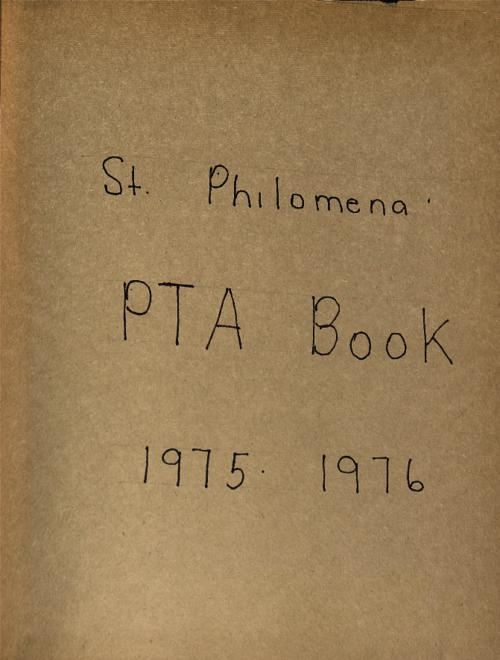 Scrapbook book together by St. Philomena's School PTA.  The scrapbook contains ephemera and clippings pertaining to the school and parish.  There is also a color snapshot of Fr. Bannigan and Bishop George Evans., Scrapbook or affiliated scans not to be reproduced in any manner without the express written permission of the Archdiocese of Denver 1300 S. Steele St. Denver, CO 80210