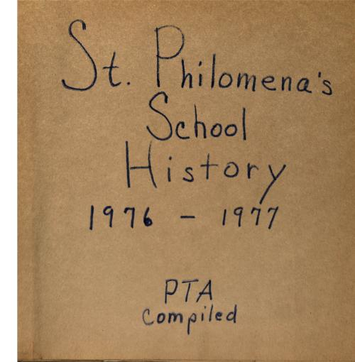 Scrapbook put together by the St. Philomena's Grade school PTA.  Scrapbook contains ephemera and clippings pertaining to the grade school and parish., Scrapbook or affiliated scans not to be reproduced in any manner without the express written permission of the Archdiocese of Denver 1300 S. Steele Denver, CO 80210