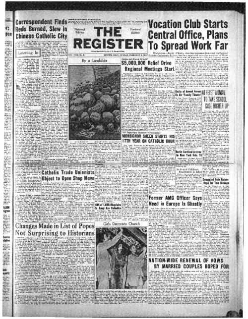The National Catholic Register is part of the register system of newspaper