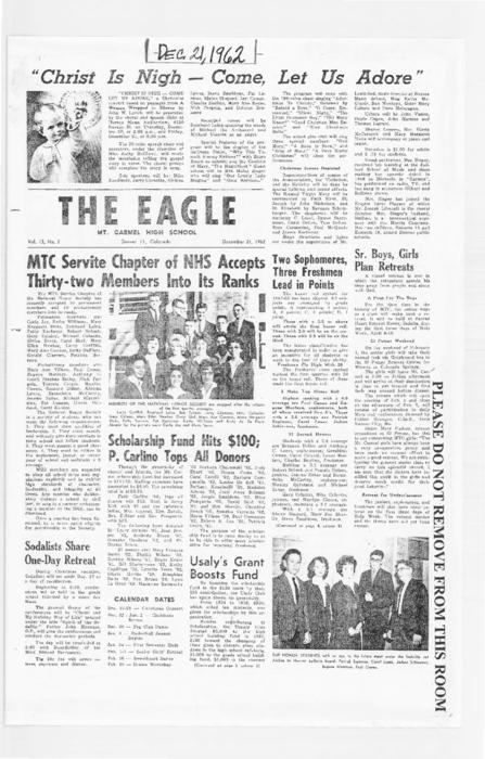 The Eagle was the newspaper of Mt. Carmel High School.  This edition was loaned for photocopying by an alum