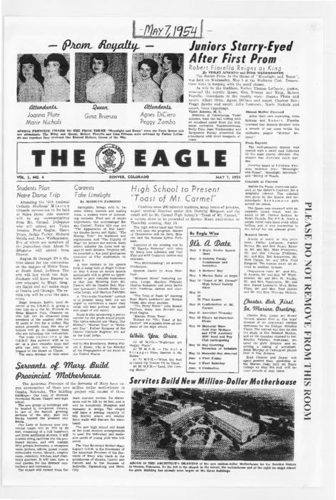 The Eagle was the newspaper for Mount Carmel High School.  This edition was loaned for photocopying by an alum