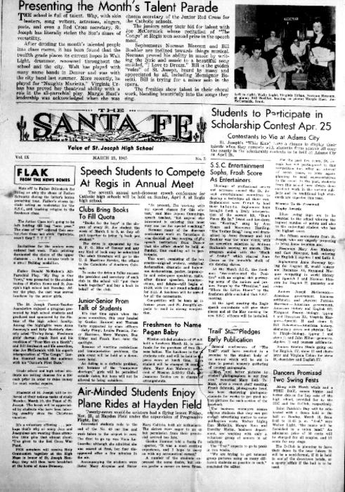 The Santa Fe was the newspaper for St. Joseph's High School