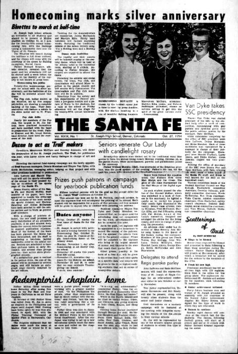 The Santa Fe was the newspaper for St. Joseph's High School.  This edition is in the archives of the Redemptorist Denver Province