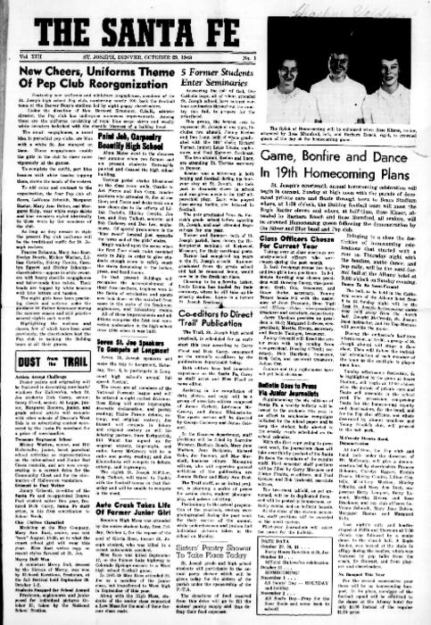 The Santa Fe was the newspaper for St. Joseph's High School.  This edition can be found in the archives of the Redemptorist Fathers
