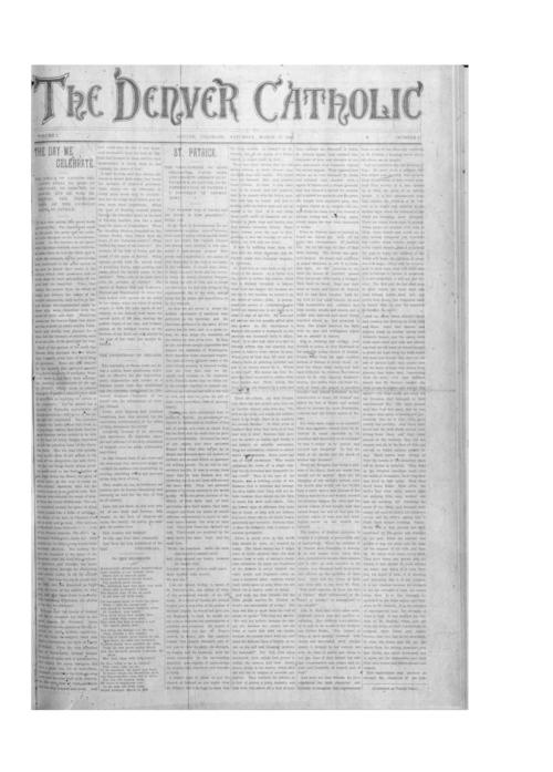 The Denver Catholic was the second newspaper of the Diocese of Denver