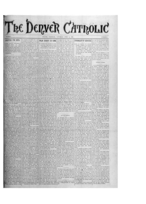 The Denver Catholic was the second paper of the Diocese of Denver