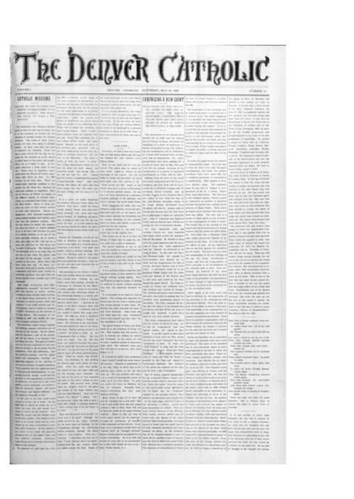 The Denver Catholic was the second paper in the Diocese of Denver