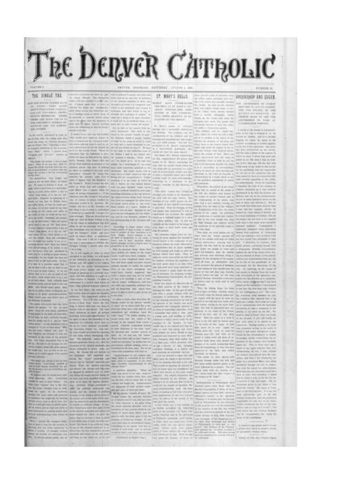 The Denver Catholic was the second newspaper of the Diocese of Denver.
