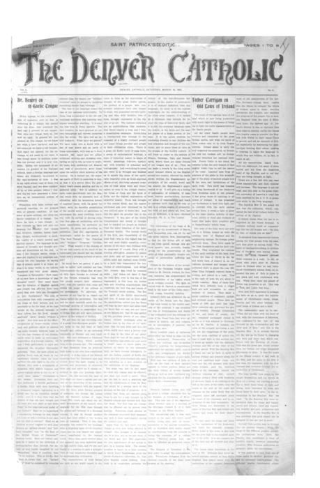 The Denver Catholic was the second newspaper in the Diocese of Denver.  This is the first section of a 2 part special St. Patrick's Day Edition