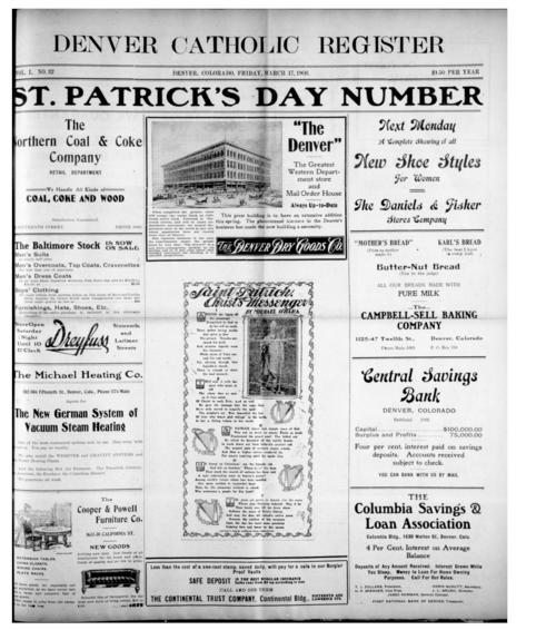 The Denver Catholic Register is the newspaper of the Diocese of Denver.  This is a special 2 part St. Patrick's Day edition