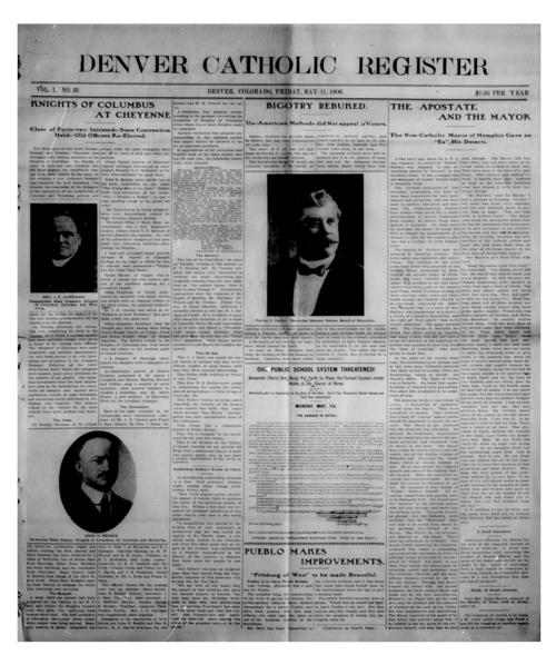 The Denver Catholic Register is the newspaper of the Diocese of Denver, Numbering is off with this issue, should be #40 not #33