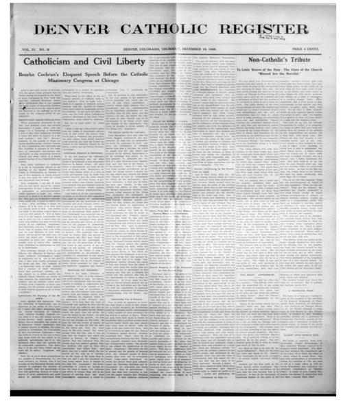 The Denver Catholic Register is the newspaper of the Diocese of Denver.  This is the first edition under John McGauran as editor
