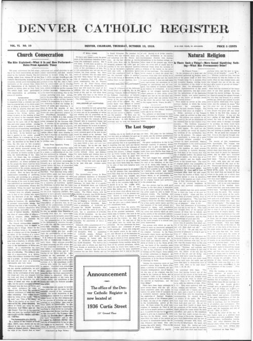 The Denver Catholic Register was the newspaper of the Diocese of Denver