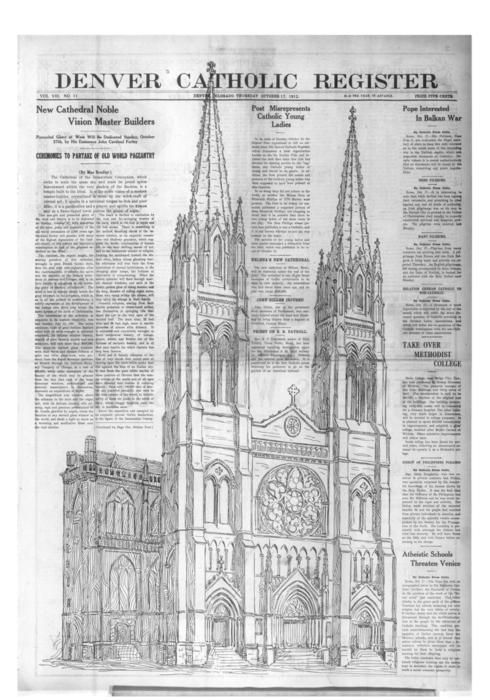 The Denver Catholic Register is the newspaper of the Diocese of Denver.  This is the special Cathedral Dedication edition with four separate sections.