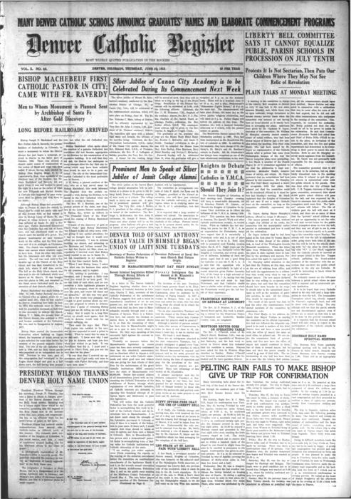 The Denver Catholic Register was the newspaper of the Diocese of Denver.