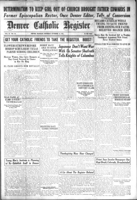 The Denver Catholic Register is the newspaper of the Diocese of Denver