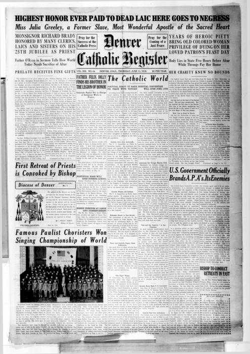 The Denver Catholic Register is the newspaper of the Diocese of Denver, Numbering is off with this issue should be #45 not #44
