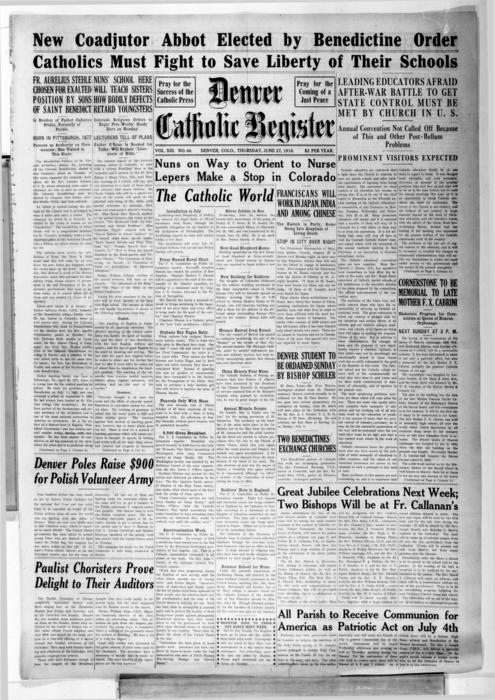 The Denver Catholic Register is the newspaper of the Diocese of Denver, Numbering is off with this issue should be #47 not #46