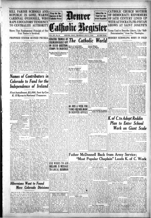The Denver Catholic Register is the newspaper of the Diocese of Denver.  This edition has a special Irish Freedom supplement