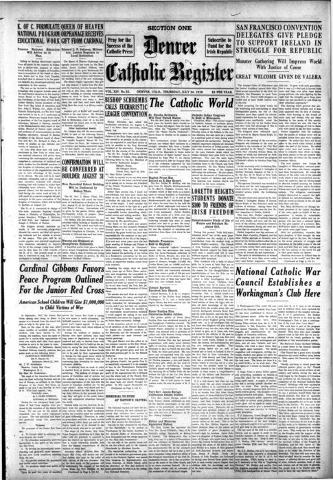 The Denver Catholic Register is the newspaper of the Diocese of Denver.  This is edition has a special supplement dedicated to Irish Independence