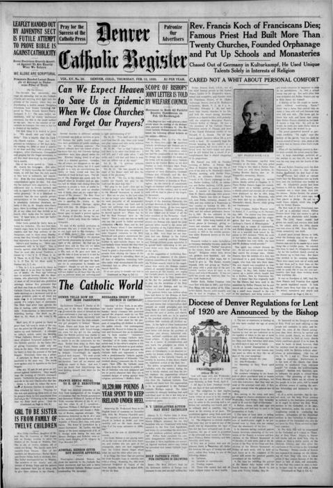 The Denver Catholic Register is the newspaper of the Diocese of Denver, There is an error in numbering with this edition.  It should read No. 29 instead of No. 26