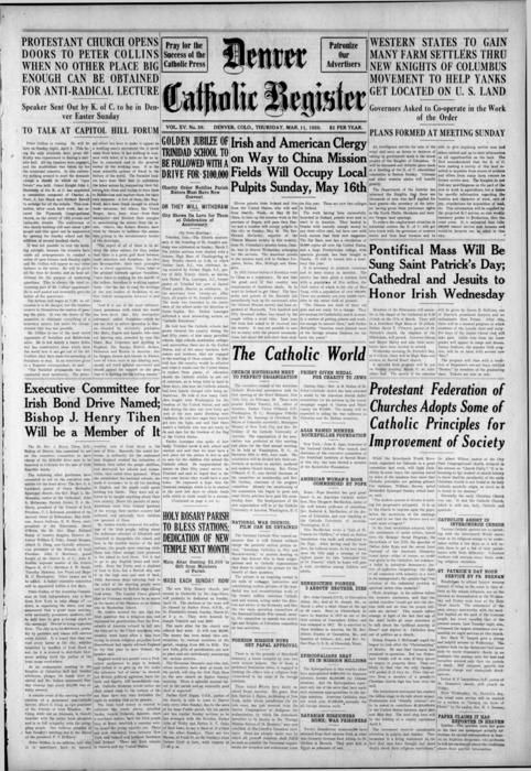 The Denver Catholic Register is the newspaper of the Diocese of Denver, Note: there is an error in the number of the editions it should be No.32 not No.30.