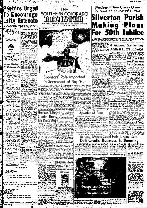 This is the newspaper of the Diocese of Pueblo.  Contains issues August 12, 1955, August 19, 1955 and August 26, 1955.  Missing August 5, 1955