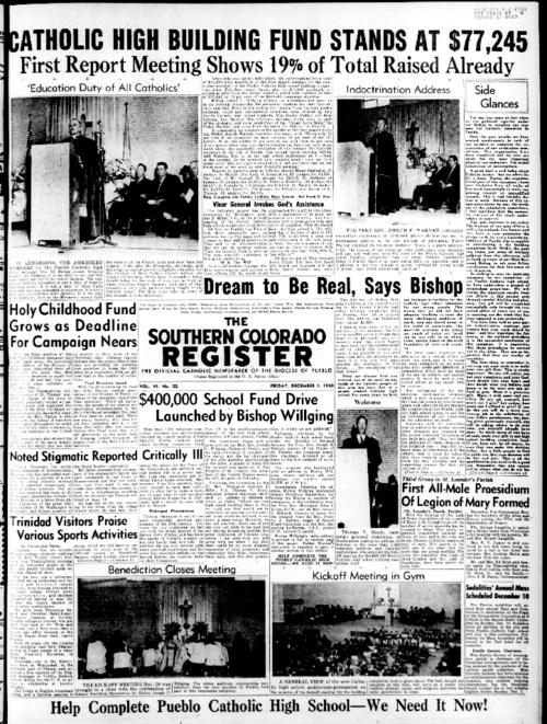 This is the newspaper of the Diocese of Pueblo.  Contains issues December 1, 1950, December 8, 1950, December 15, 1950, December 22, 1950 and December 29, 1950
