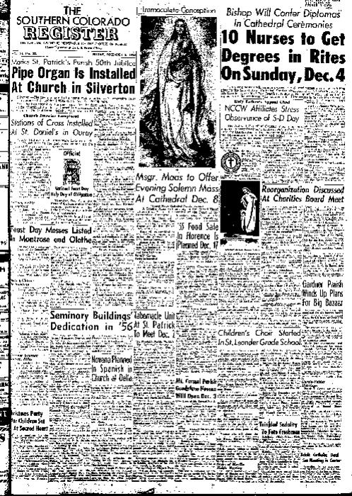 This is the newspaper of the Diocese of Pueblo.  Contains issues December 2, 1955, December 9, 1955, December 16, 1955, December 23, 1955 and December 30, 1955