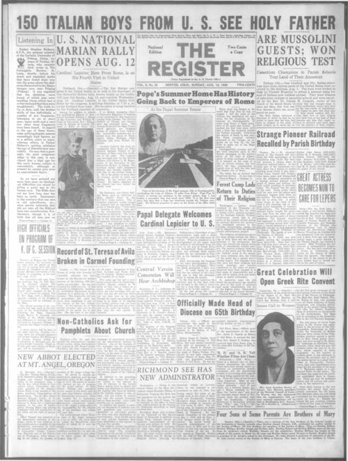 Part of the Denver Catholic Register.  August 19, 1934 edition missing