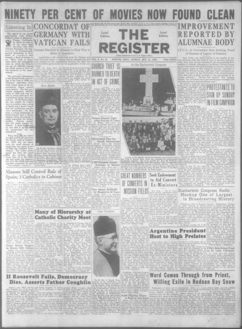 Part of the Denver Catholic Register.  Missing October 28, 1934 issue