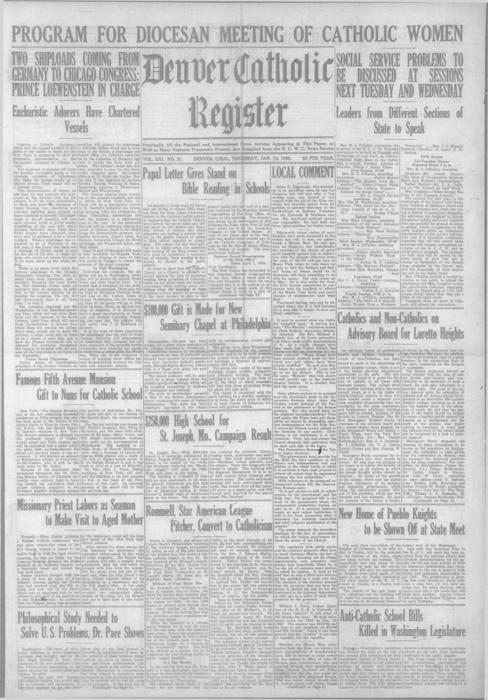 This is the newspaper of the Denver Catholic Register