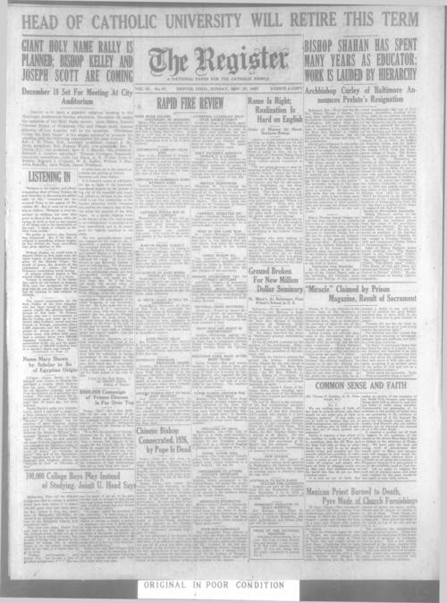 The Register is a part of the Denver Catholic Register, Issues November 15, 1927 and November 22, 1927 are missing. An issue of the National Catholic Register for November 27, 1927 is stored with the local issue November 27, 1927.