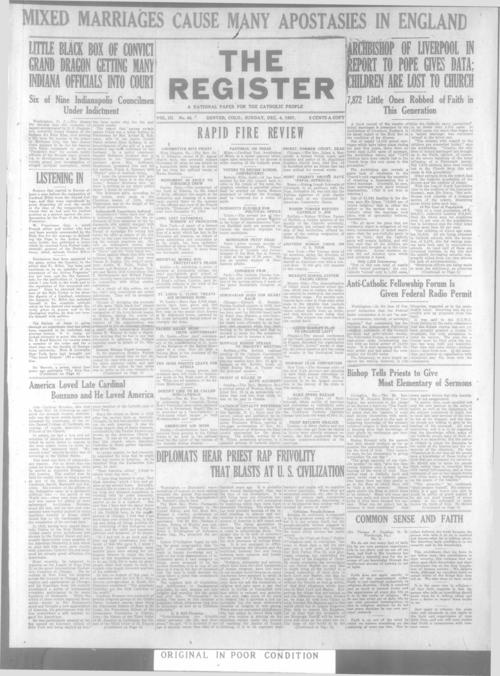 The Register is a part of the Denver Catholic Register, A national issue of the Register for December 4, 1927 is stored with the local edition for December 4, 1927.