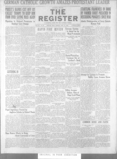 The Register is a part of the Denver Catholic Register, There is a national issue of the Register for December 11, 1927 stored with the local issue for December 11, 1927.