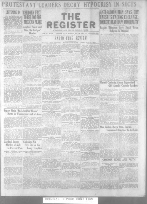 The Register is a part of the Denver Catholic Register, A national issue of the Register for December 18, 1927 is stored with the local edition for December 18, 1927.