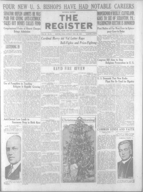 The Register is a part of the Denver Catholic Register, An national issue of the Register for December 25, 1927 is stored with the local issue for December 25, 1927.