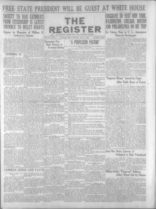 The Register is a part of the Denver Catholic Register, A national issue of the Register for January 1, 1928 is stored with the local issue.