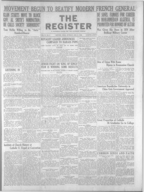 The Register is a part of the Denver Catholic Register, A national issue of the Register for January 8, 1928 is stored with the local issue.