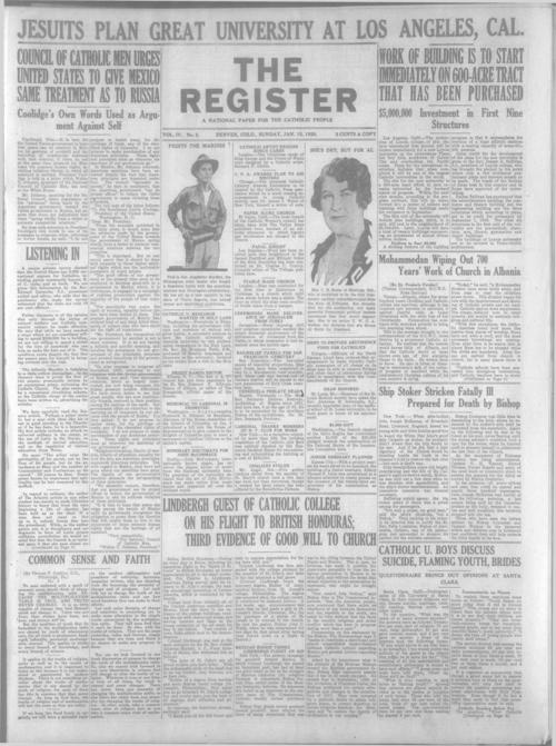 The Register is a part of the Denver Catholic Register, A national issue of the Register for January 15, 1928 is stored with the local issue.