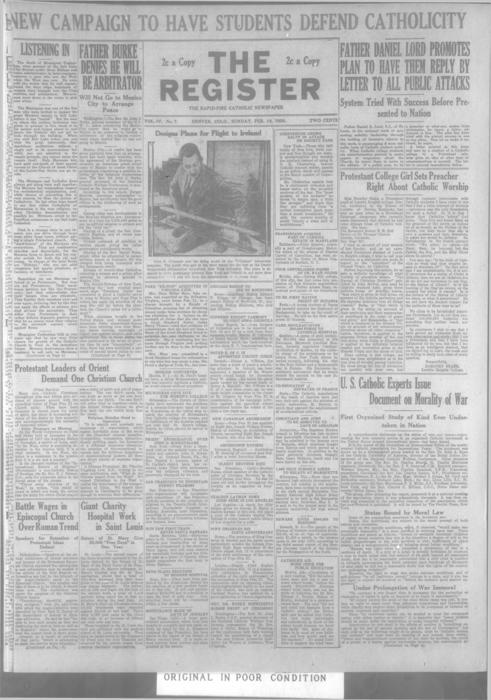 The Register is a part of the Denver Catholic Register, Two issues for February 19, 1928