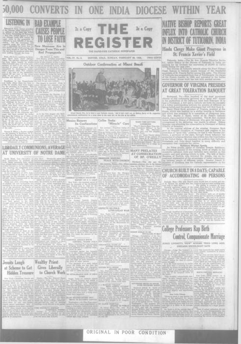The Register is a part of the Denver Catholic Register, A national issue of the Register for February 26, 1928 is stored with the local issue.