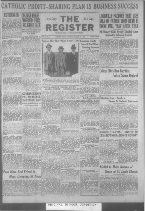 The register is a part of the Denver Catholic Register, There is a national issue of the Register for March 4, 1928 stored with the local issue.