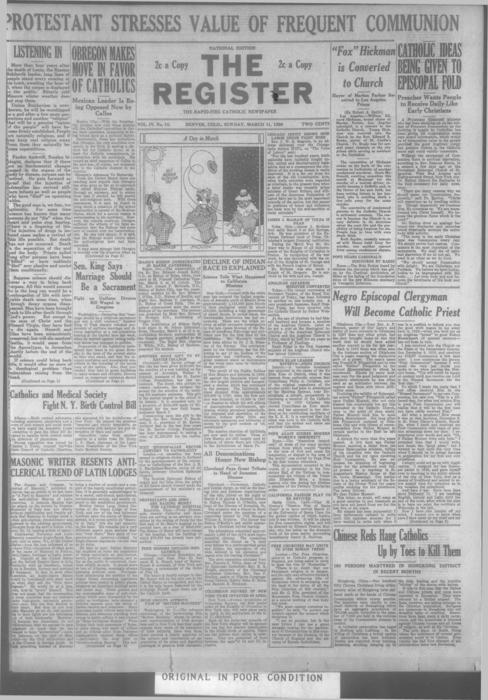 The Register is part of the Denver Catholic Register. A local as well as a national version was printed