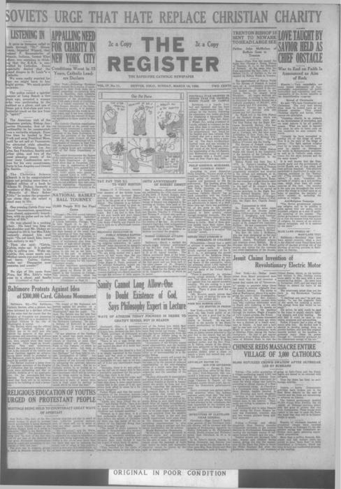 Part of the Denver Catholic Register.  A local and national edition was printed