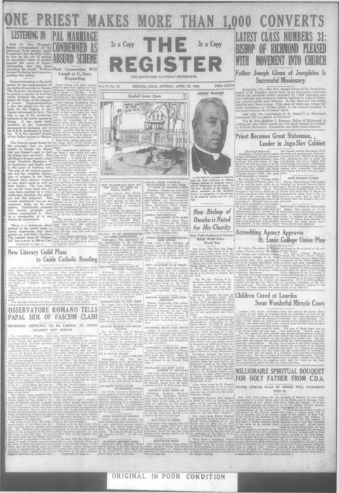 Part of the Denver Catholic Register.  A local and national edition were printed